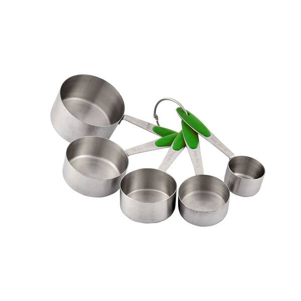 Kitchen Baking Stainless Steel Coffee Tea Soup Measuring Cups Set 5 in 1  Green