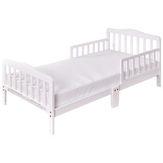 Costway Baby Toddler Bed Kids children Wood Furniture w/ Safety Rails White