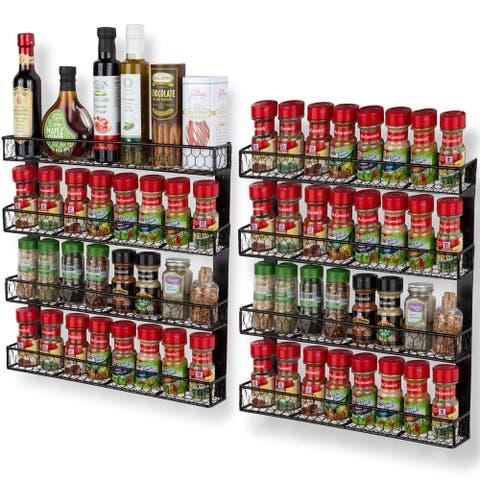 Wall35 Positano 4 Tier Metal Spice Rack Kitchen Organization and Storage (Set of 2)