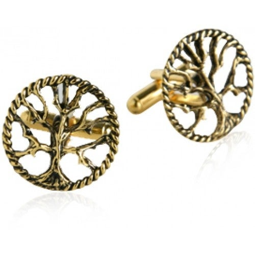 Tree Of Life Religious Spiritual Cufflinks In Gold