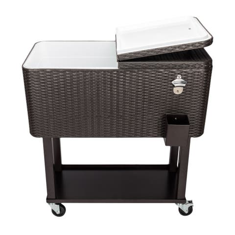 80QT Rattan Square Legs Cooler with Shelf