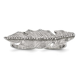 Chisel Stainless Steel Polished&Antiqued Leaf Two Finger Crystal Ring