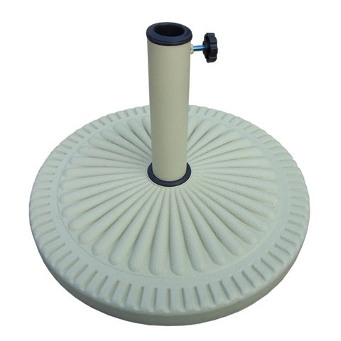 19 Cream Colored Cast Poly Resin Scalloped Design Patio Umbrella Stand