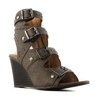 Sugar Womens Brown Open Toe Heels Size 7.5