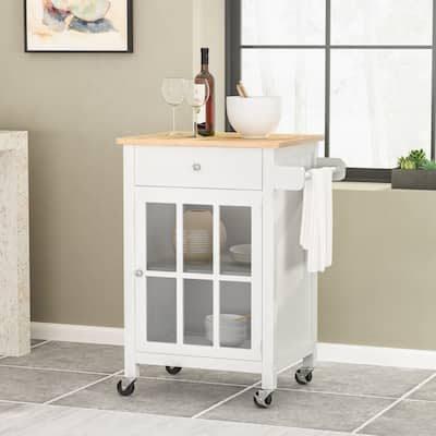 Maynard Indoor Glass Paneled Kitchen Cart with Wheels by Christopher Knight Home