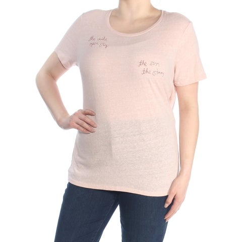 LUCKY BRAND Womens Pink Embroidered Short Sleeve Crew Neck T-Shirt Top Size: XL