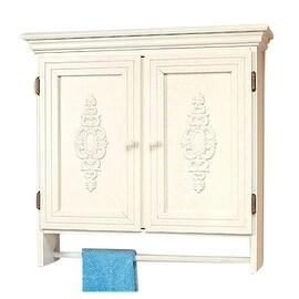 Solid Wood Medicine Cabinet Combo 2 Door White Crackle Birch
