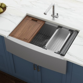 Link to Ruvati 36-inch Apron-front Workstation Farmhouse Kitchen Sink 16 Gauge Stainless Steel Single Bowl - RVH9300 - 36″ x 22″ Similar Items in Sinks