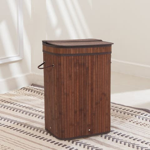 Sophia & William Laundry Hamper 72L Dirty Clothes Bamboo Storage Basket with Lid Liner and Handles Rectangular