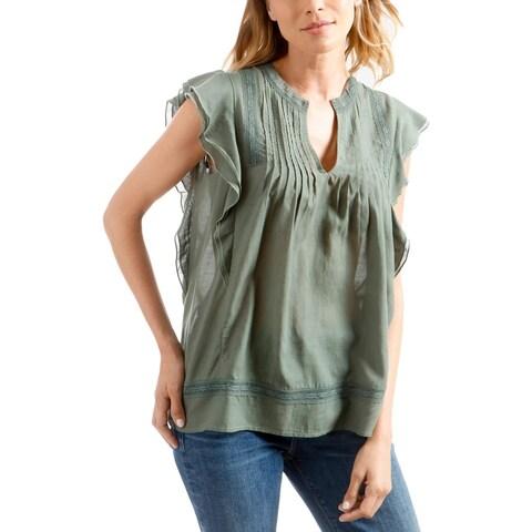 Lucky Brand Womens Pullover Top Ruffled Sleeveless - M