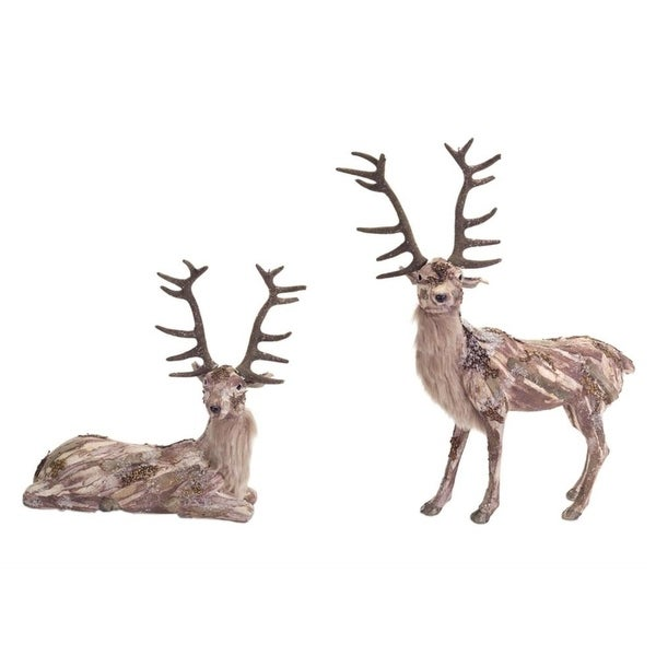 """Set of 2 Assorted Sitting and Standing Birch Deer Table Top Decorations 17"""" - brown"""