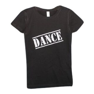 "Little Girls Black Silver Glitter ""Dance"" Print Short Sleeve T-Shirt 2T-5"