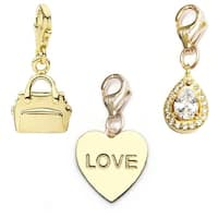 Julieta Jewelry Love Heart, Handbag, Teardrop 14k Gold Over Sterling Silver Clip-On Charm Set