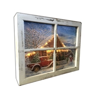 """10"""" White and Blue Lighted Country Store Christmas Rectangular Shadow Box Decoration"""