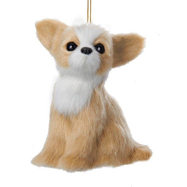 Sandy Tan and White Plush Chihuahua Puppy Dog Christmas Ornament 4""