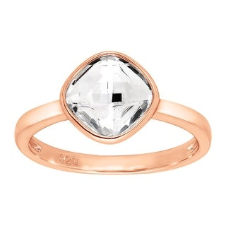 Crystaluxe Solitaire Ring with Swarovski Crystal in 18K Rose Gold-Plated Sterling Silver - White