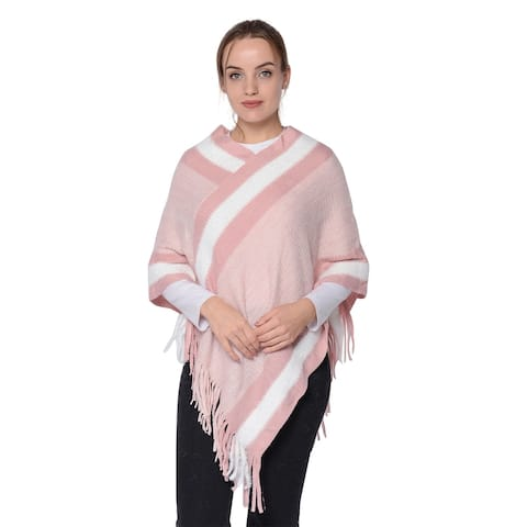 Blush Striped Border Poncho with Fringe Acrylic Polyester V Neck - 36x32.5,