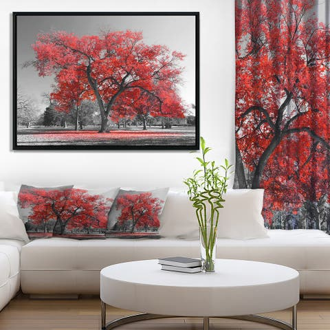 Designart 'Big Red Tree on Foggy Day' Landscape Framed Canvas Art Print
