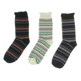 K. Bell Socks Womens 3PK Striped Crew Socks - 4-10
