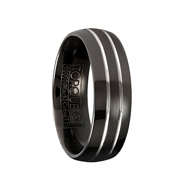 PALAZZO Torque Black Cobalt Wedding Band Brushed Center Dual Grooved Line Design Round Edges by Crown Ring - 7 mm