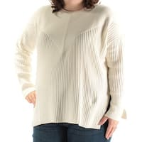 Womens Ivory Long Sleeve Jewel Neck Casual Sweater  Size  2X
