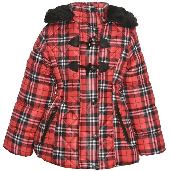 50446c96f218 Shop Urban Republic Girls Red Plaid Quilted Toggle Hooded Puffer ...