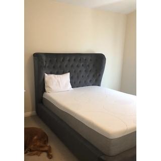 Finley Grey Velvet Tufted Bed Frame