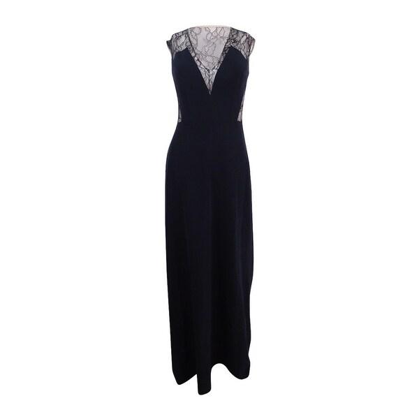 Shop Aidan Mattox Women\'s Sleeveless Lace & Crepe Gown (0, Black ...