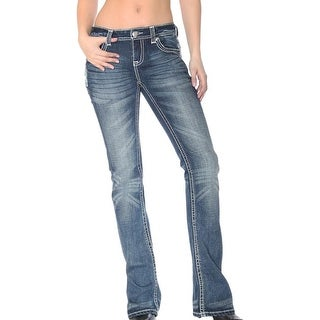 Grace in LA Denim Jeans Womens Cross Pocket Bootcut Dark Wash JB51223