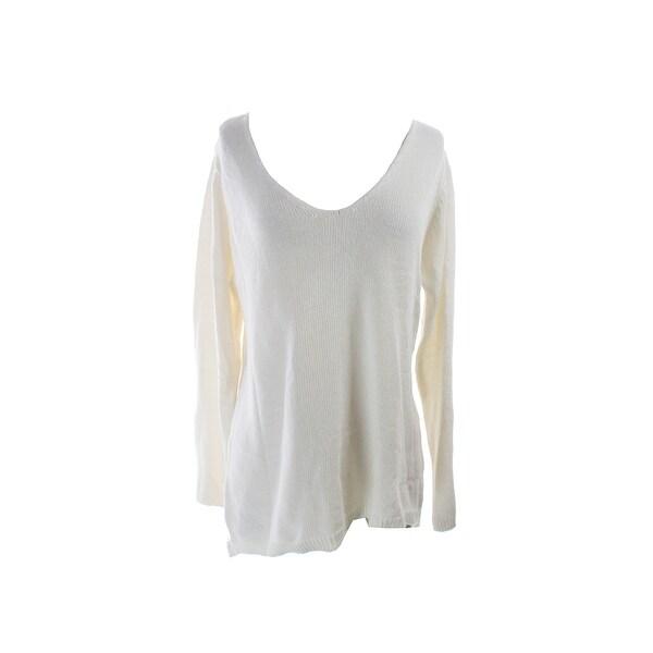 Studio M Ivory Long-Sleeve V-Neck Open Knit Sweater L