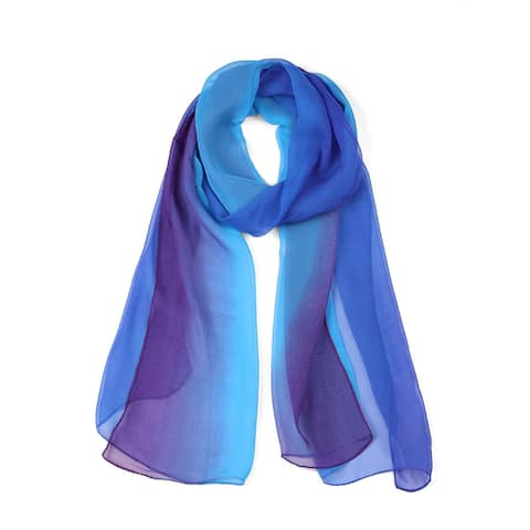 Long Chiffon Lightweight Gradient Color Scarf For Women - Royal Blue