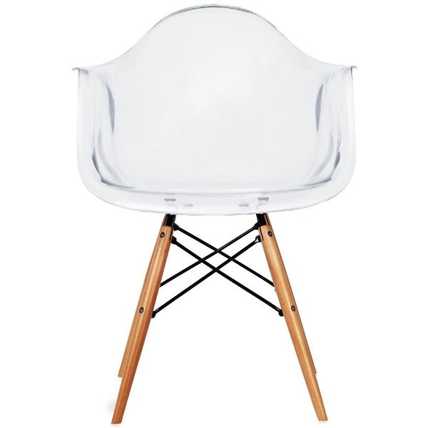 2xhome Plastic Chair Armchair With Arm Clear Transparent Natural Wood Legs Dining