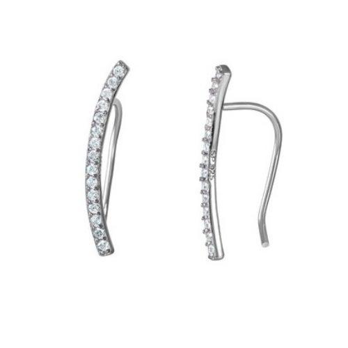 Amanda Rose Cubic Zirconia Curved Bar Ear Crawlers in Sterling Silver