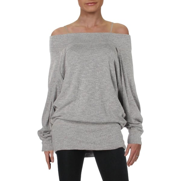 Shop Free People Womens Palisades Pullover Sweater Slub Off The Shoulder Overstock 27985460