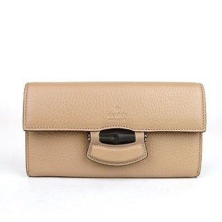 Gucci Bamboo Beige Leather Nouveau Clutch Wallet