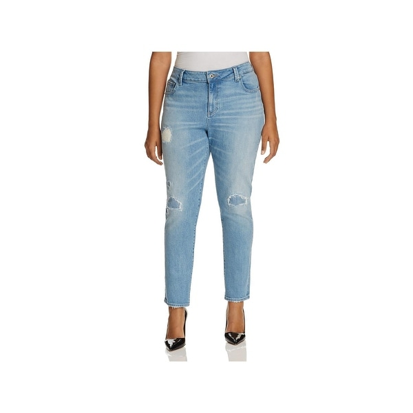 a645a91485c Shop Lucky Brand Womens Plus Ginger Skinny Jeans Destroyed Mid-Rise ...