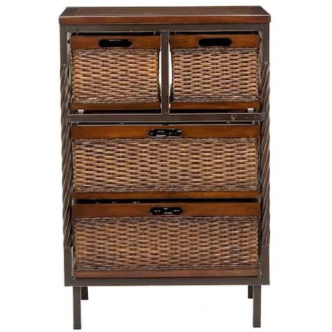 SAFAVIEH Walsham 4-drawer Dark Walnut Storage Shelf