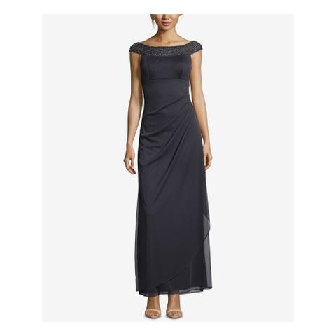 XSCAPE Womens Black Cap Sleeve Boat Neck Maxi Evening Dress Size 6P