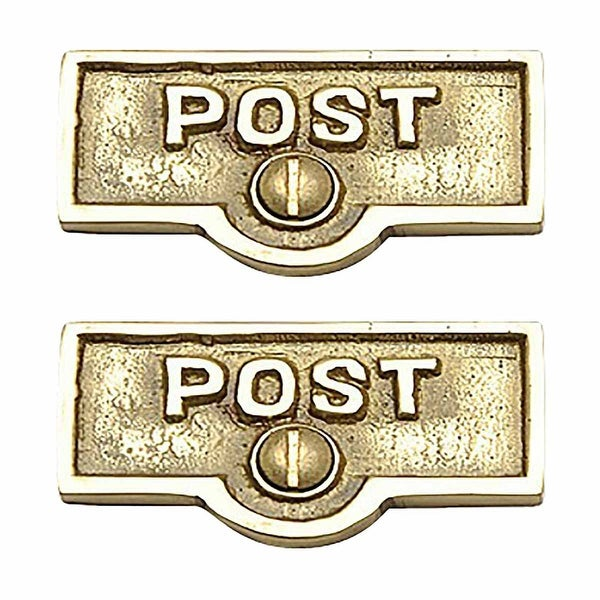 2 Switch Plate Tags POST Name Signs Labels Lacquered Brass | Renovator's Supply