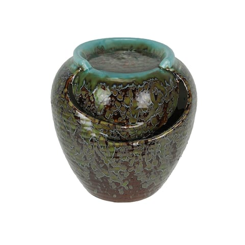 Classic Mottled Blue and Brown Ceramic Indoor / Outdoor Fountain