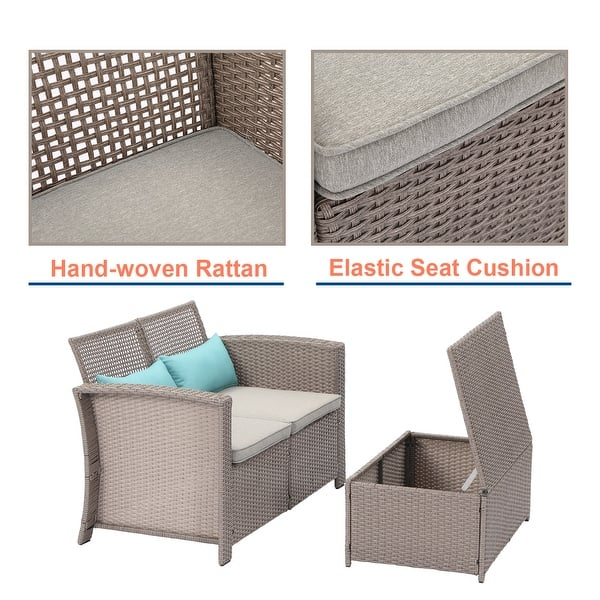 Cosiest 2 Piece Outdoor Patio Furniture Wicker Love Seat With Cushions Overstock 31500493