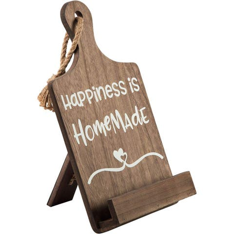 """Palais Essentials MDF Wood Cookbook Stand - 14"""" Wooden Brown - 'Happiness is Homemade'"""