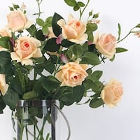 """G Home Collection Luxury Real Touch 2 Rose Bloom Stem in Champagne Color 37"""" Tall"""