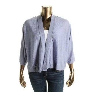Eileen Fisher Womens Plus Cardigan Sweater Kimono Ribbed Trim