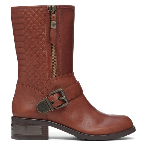 Vince Camuto Womens Whynn Leather Round Toe Mid-Calf Motorcycle Boots