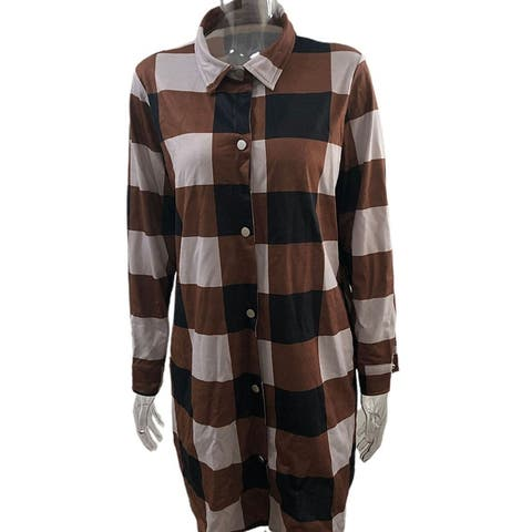 Women Autumn Open Front Plaid Buttons Shirt Cardigan Long Sleeve Mid-Length Coat