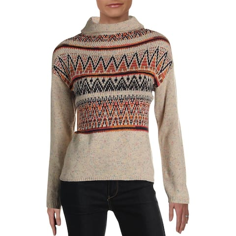 Cliche Womens Pullover Sweater Patchwork Mock Neck - Oatmeal Combo