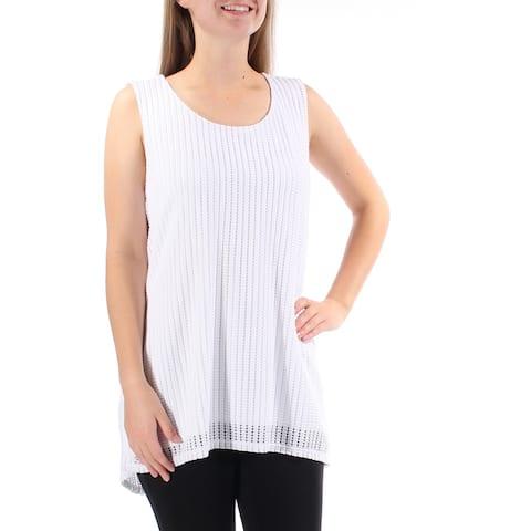 ALFANI Womens White Sleeveless Jewel Neck Hi-Lo Top Size M