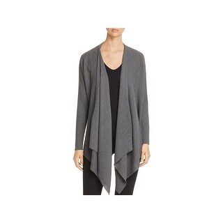 Eileen Fisher Womens Angle Front Cardigan Sweater Ribbed Open Front