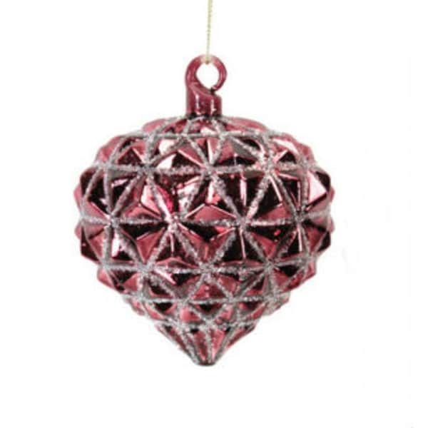 "3.25"" Rose Blush Glittered Onion Shaped Glass Christmas Ornament - RED"